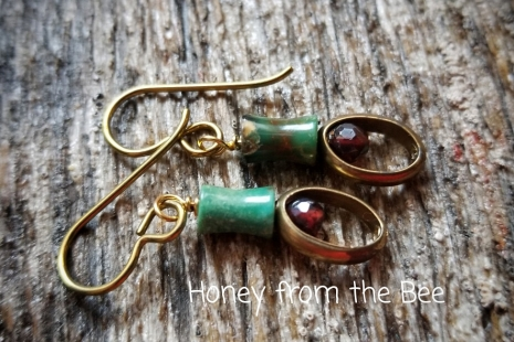 Garnet and turquoise earrings
