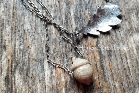 Sterling silver leaf and acorn necklaces