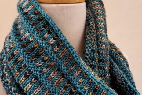 Teal and Cream hand-knit cowl