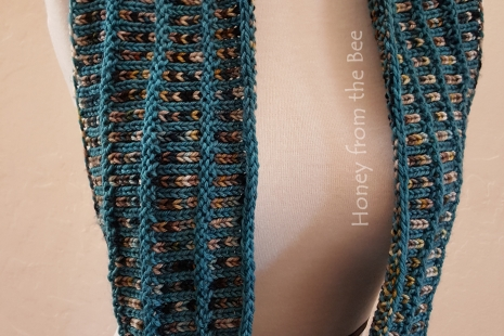 Teal, cream and brown hand-knit scarf