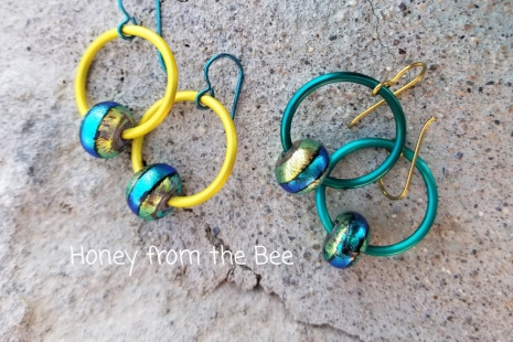 Hoop and lampwork earrings