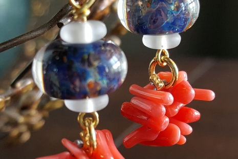 Navy Blue and Coral earrings