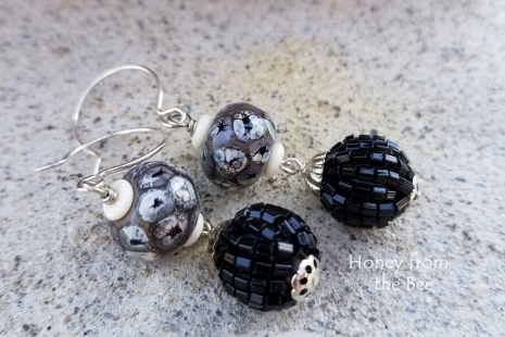 Black and white artisan earrings