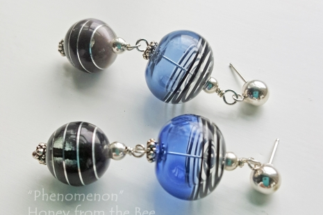 Sapphire and Black artisan earrings