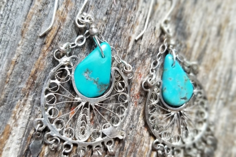 Silver filigree and turquoise earrings