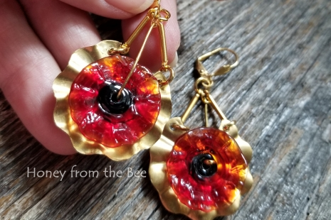 Gold and Red poppy earrings