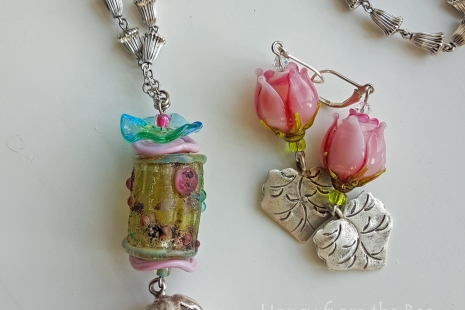 Rose necklace and earrings