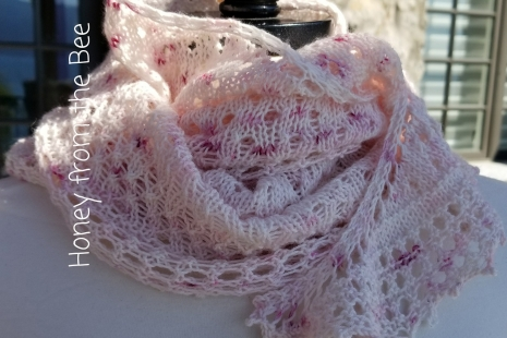 Rose and cream lace scarf