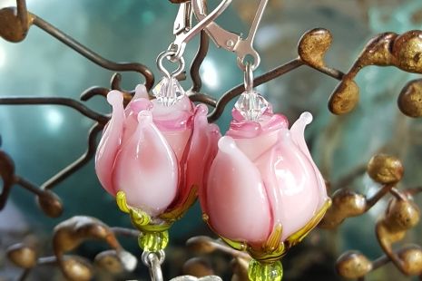 Pink Rose artisan earrings