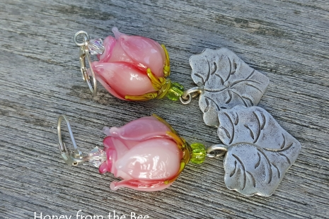 Pink rosebud earrings