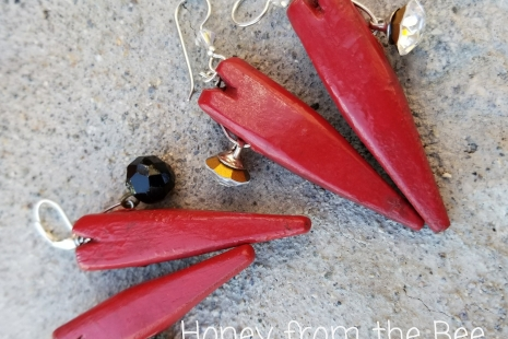 Rustic Red Heart earrings