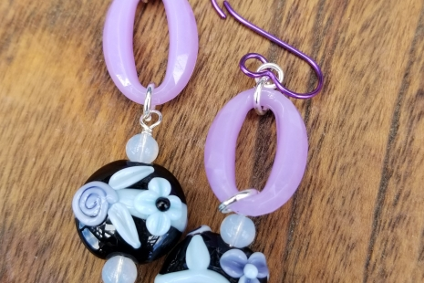 Lavender and black earrings