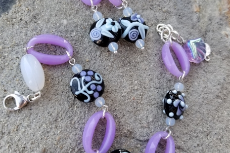 Lavender Lampwork earrings and bracelet set