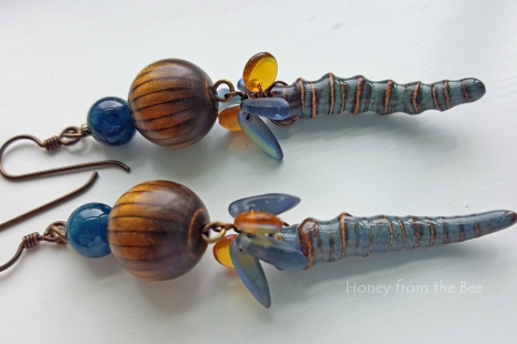 Brown and blue earrings