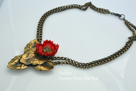 Vintage brass and red poppy lampwork necklace