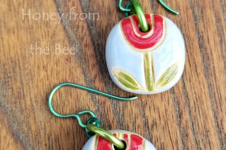 Red Tulip Earrings