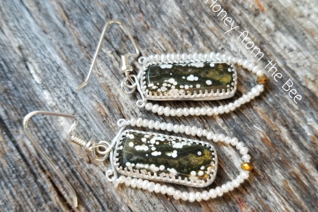 Ocean jasper and seed pearl earrings