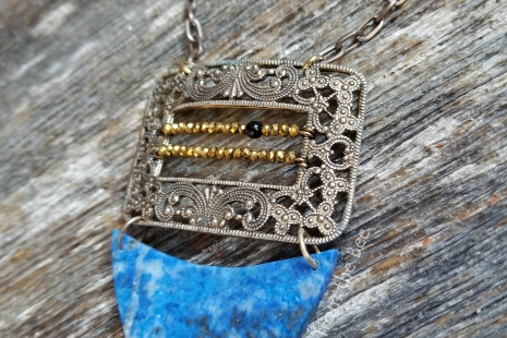 blue and gold artisan necklace