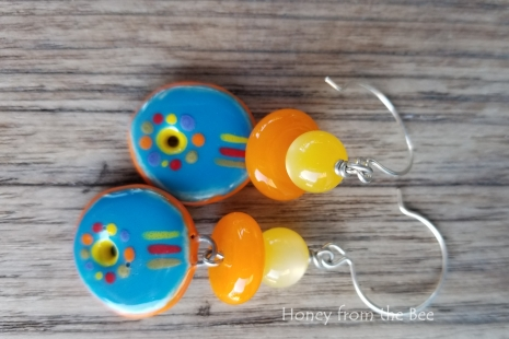 Orange and Blue Artisan earrings