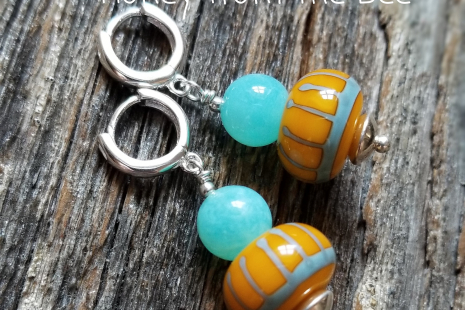 Blue and yellow earrings