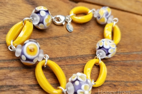 Yellow and lavender bracelet