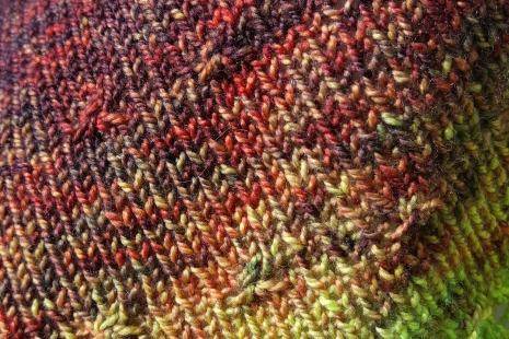 burgundy and chartreuse handknit