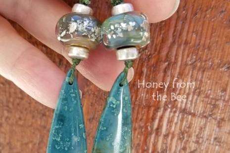 Deep teal and sage earrings