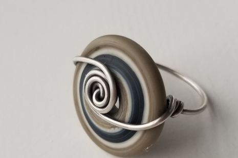 Navy and Silver ring