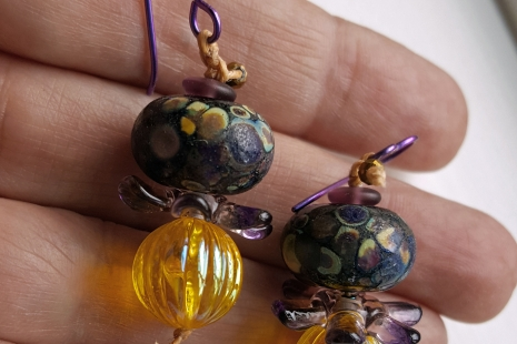Purple and Yellow earrings