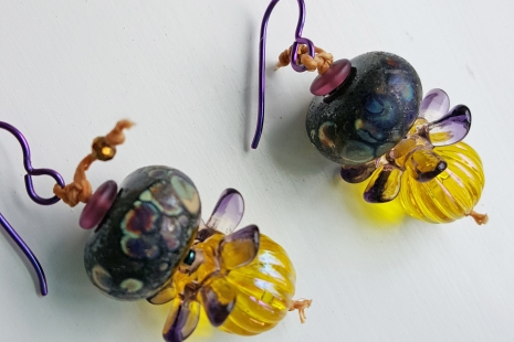 Yellow and purple earrings