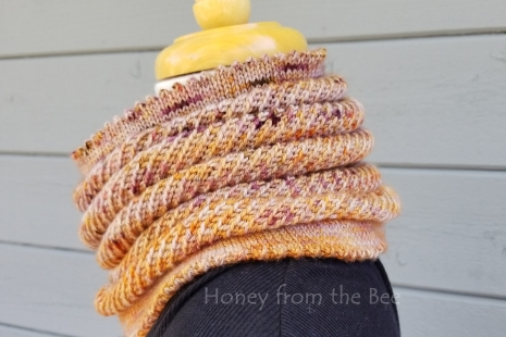 Handknit orange cowl
