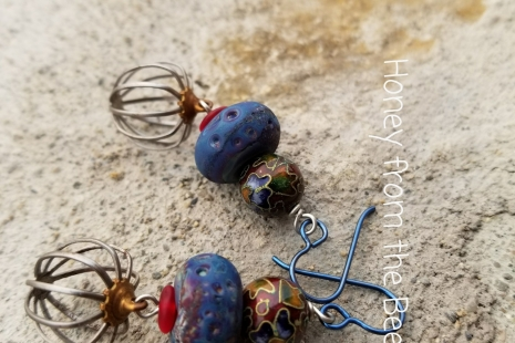 Navy and Burgundy Earrings