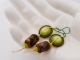 Lime Green and Wood Earrings, copyright Honey from the Bee
