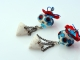 Circus inspired artisan earrings, copyright Honey from the Bee