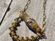 Warm brown and green Lampwork Necklace, copyright Honey from the Bee