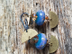 Blue, gold and copper earrings