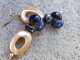 Navy Blue and cream earrings