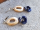 Navy blue and white boho earrings