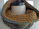Blue and Yellow knitted cowl