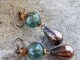 copper and green earrings