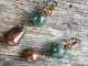 green and copper earrings