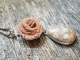 Barite rose and fossilized coral agate necklace