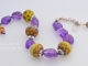Amethyst and golden lampwork bracelet