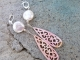 Coin pearl and carved shell earrings