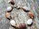 red and tan beaded bracelet