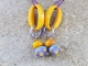 Purple and Yellow lampwork earrings