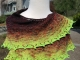 Chartreuse and burgundy shawl