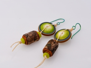 Green Woodland Earrings, copyright Honey from the Bee