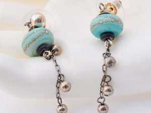 Aqua lampwork Artisan Earrings, copyright Honey from the Bee