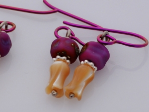 Fuchsia Lampwork Earrings, copyright Honey from the Bee